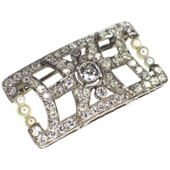 Art Deco Pearl and Diamond Brooch
