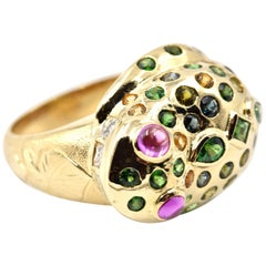 Frog 18 Karat Gold Ring with Diamond, Tsavorite, Citrine and Pink Tourmaline