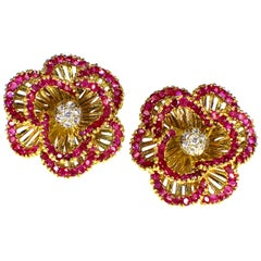 Tiffany & Co. Ruby and Diamond Earclips, 1960s