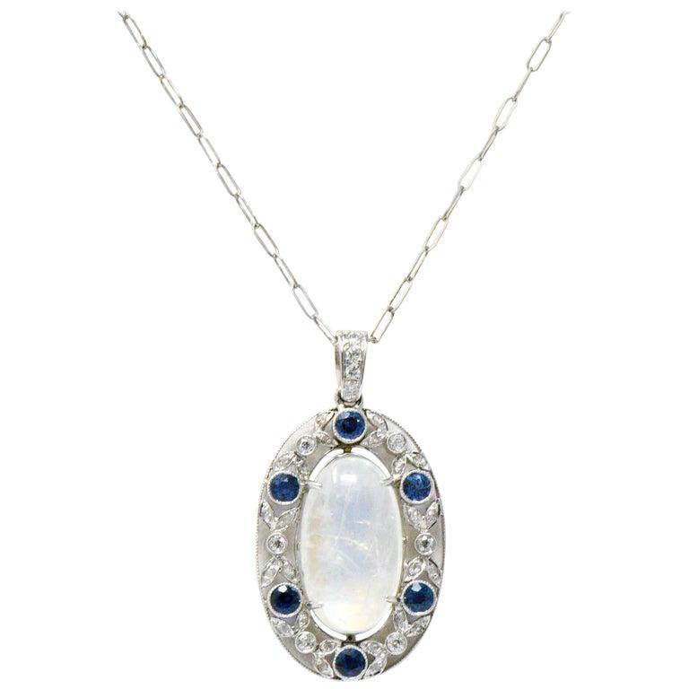 Edwardian 11.80 Carat Moonstone Sapphire Diamond Platinum Pendant Necklace