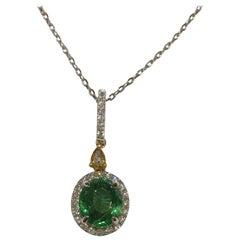 Tsavorite Garnet and Diamonds Pendant