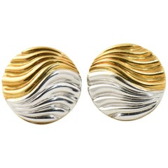 Neiman Marcus Two-Tone White and Yellow Gold Circular Wave Clip on Earrings