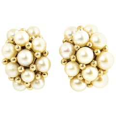 Pearl and Gold Chunky Hoop Cluster Earrings