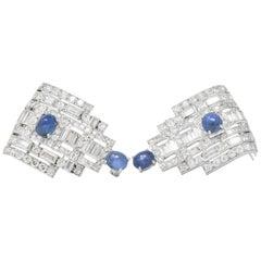 Stunning Art Deco 12.15 Carat Sapphire Diamond Platinum Clips