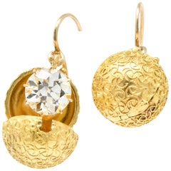 Victorian 3.25 Carat Diamond 14+ Karat Gold Drop Earrings with Coach Covers