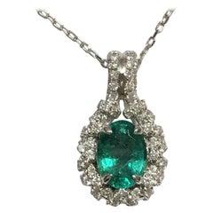 Emerald Diamonds Pendant Set in 14 Karat Gold