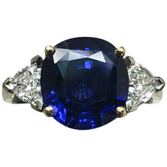 SSEF Certified 4.82 Carat Burma Sapphire and Diamond Ring