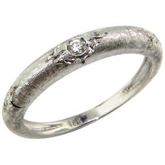 18 Karat Gold and Diamond Engraved White Band, Handmade in Florence, Italy