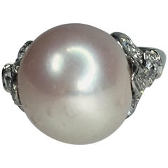 GIA Natural Freshwater Pearl and Diamond Ring, Art Deco, 1910s