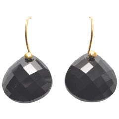 Faceted Black Onyx and 18 Karat Gold Drop Earrings