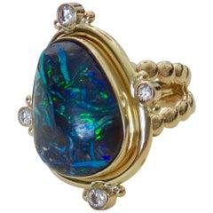 Michael Kneebone Boulder Opal Diamond 18 Karat Gold Cocktail Ring