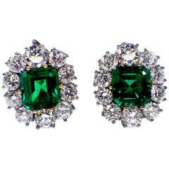 AGL certified 2,37ct & 2,47ct, Colombian Emerald & Diamond Earclips, Modern