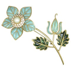 Cristobal by Gripoix Made in France Blue Flower Poured Glass Large Brooch