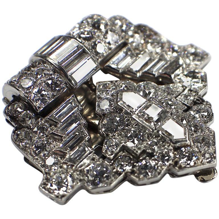 Rene Boivin, Art Deco Diamond Clip Brooch, 1928