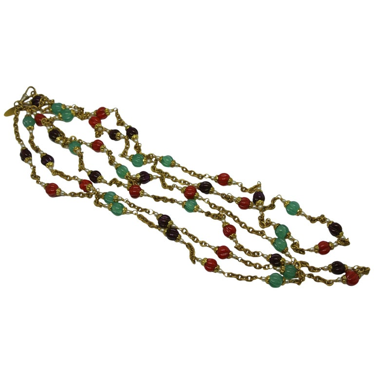 Chanel 1980s Red Green Melon-Cut Gripoix Poured Glass Long Chain Necklace
