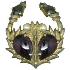 Schiaparelli 1950s Purple Black Glass Crab Brooch