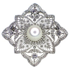 Black Starr and Frost, Belle Époque Natural Freshwater Pearl and Diamond Brooch