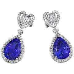 Tivon 18 Carat White Gold AAAA Pear-Cut Hanging Tanzanite and Diamond Earrings