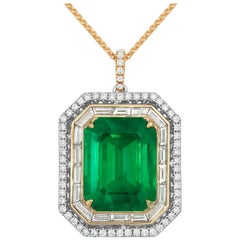 Tivon 18 Carat White and Yellow Gold Colombian Emerald and Diamond Pendant