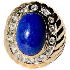 Lapis Lazuli Cabochon White Round Brilliant Cut Diamond Surround 18k Yellow Gold