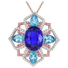 Tivon 18 Carat White & Rose Gold AAAA Tanzanite, Pink Sapphire & Diamond Pendant