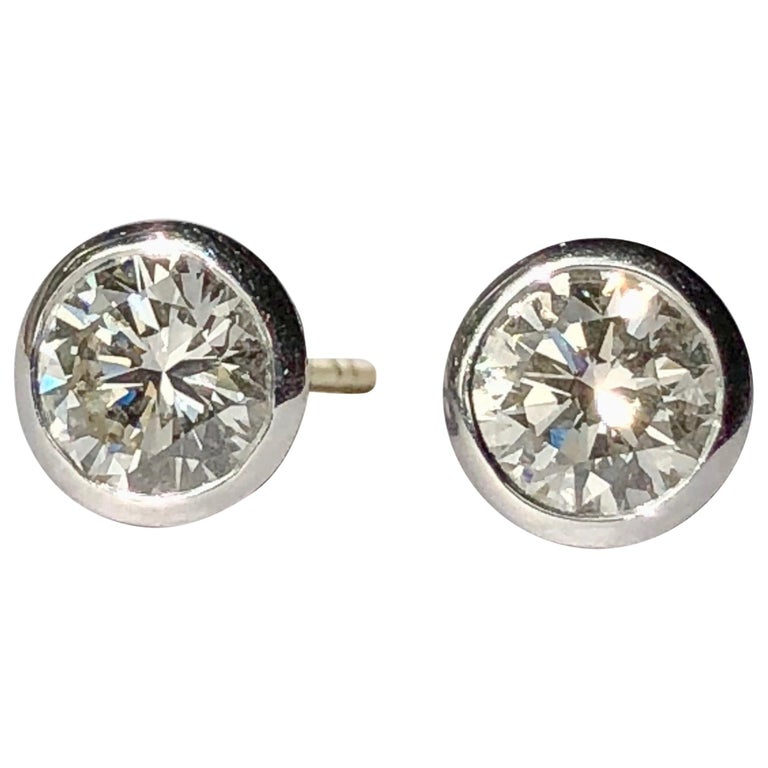 White Diamond Earrings Studs Single Stone Round Brilliant Cut Solitaire 18k Gold For