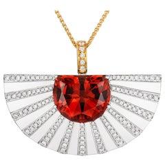 Tivon 18 Carat White and Yellow Gold Fancy-Cut Tourmaline and Diamond Pendant