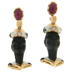 Black Moor 18 Carat Yellow Gold Ruby Diamonds Stud Earrings