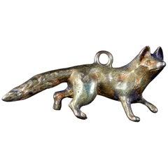 Antique Victorian Fox Pendant Charm 15 Carat Gold, circa 1880