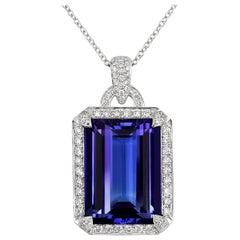 Tivon 18 Carat White Gold AAAA Emerald-Cut Tanzanite and Diamond Pendant