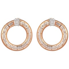 18 Karat Rose Gold 5.92 Pie Cut Diamond 1.37 Carat Emerald Cut Diamond Earrings