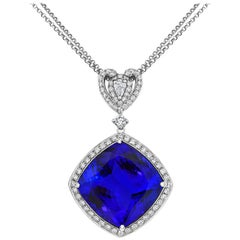 Tivon 18 Carat White Gold AAAA+ Cushion-Shaped Tanzanite and Diamond Pendant