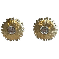 Modernist 18 Karat Gold Diamond Set Earring