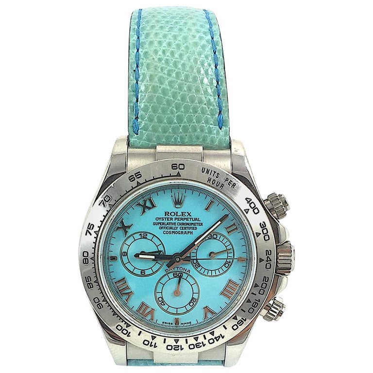 Rolex White Gold Daytona Blue Beach Edition Automatic Watch with Papers
