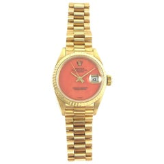 Rolex Ladies Yellow Gold President Coral Dial Datejust Automatic Wristwatch