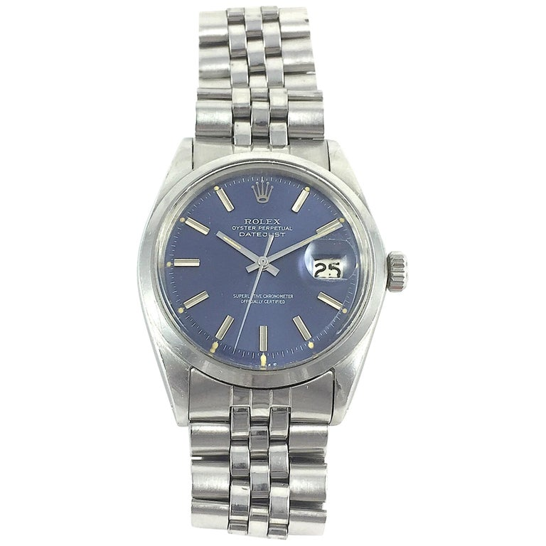 Rolex Stainless Steel Blue Dial Datejust Wristwatch, 1960s