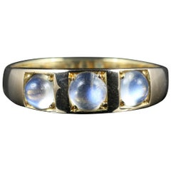 Antique Victorian Moonstone Trilogy Ring 18 Carat Gold, circa 1880