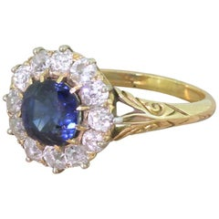 Victorian 2.22 Carat Natural Sapphire & Old Cut Diamond 18k Gold Cluster Ring