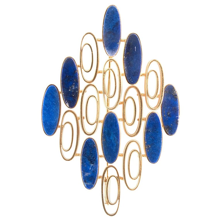 1970s Gold and Lapis Lazuli Pendant Brooch