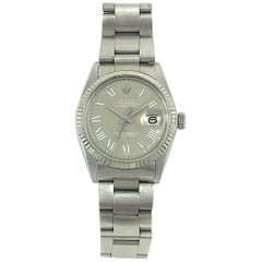 Rolex Stainless Steel White Gold Grey Buckley Dial Datejust Automatic Wristwatch