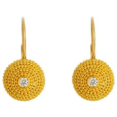 24K Gold Handcrafted Granulated Drop Earrings with Brilliant Cut Diamonds