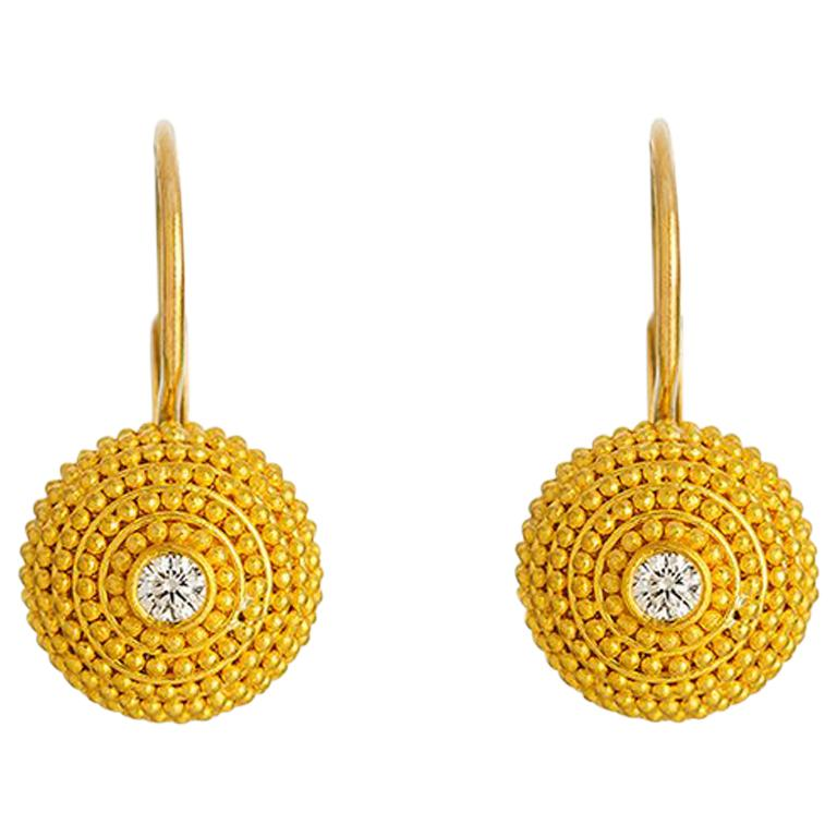 24K Gold Handcrafted Granulated Drop Earrings with Brilliant Cut Diamonds  For Sale