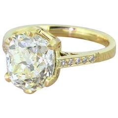 3.66 Carat Fancy Light Yellow Diamond 18 Karat Gold Engagement Ring