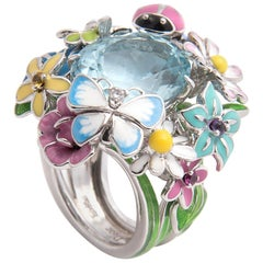 Dior 'Diorette' White Gold, Lacquer and Aquamarine Flower Ring
