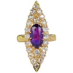 Antique 1.80 Carat No Heat Purple Ceylon Sapphire 2.0 Carat Diamond Navette Ri