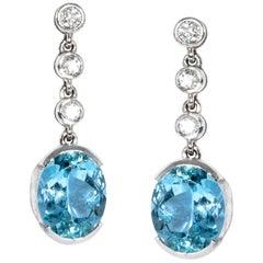 18 Karat White Gold 5.38 Carat Aquamarine Diamond Dangling Earrings