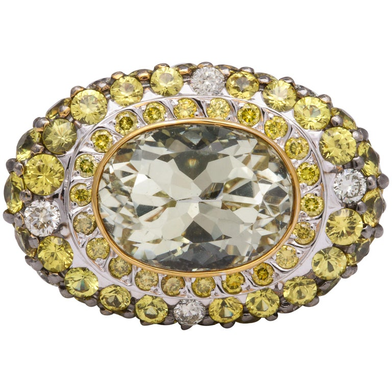 White Gold, Oval Yellow Sapphire, Pave-Set Sapphire and Diamond Cocktail Ring