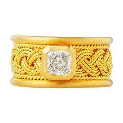 24 Karat Wide Weave Mesh Band Diamond Solitaire Ring