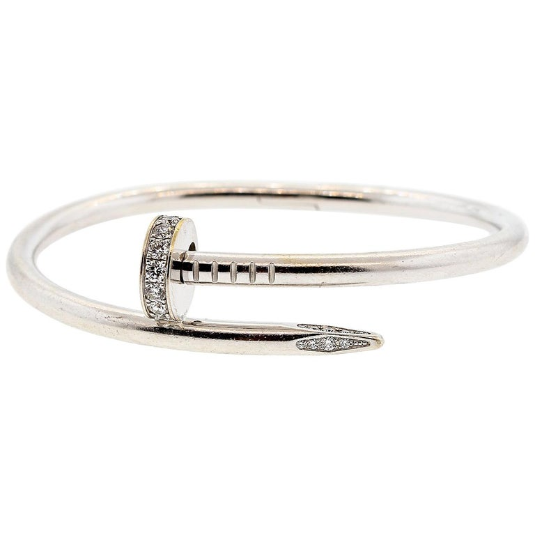 Modern Juste Un Clou Cartier 18 Karat White Gold Diamond Nail Bracelet For