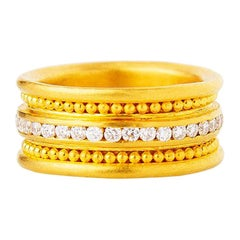 24 Karat Fine Gold Handcrafted Eternal Ring Decorated with Granules and Diamonds